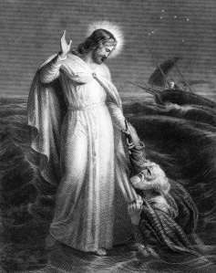 The Prince of Peace walks upon the raging sea.